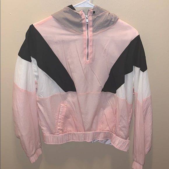 Forever 21 Jackets & Blazers - baby pink, black, and white forever 21 windbreaker